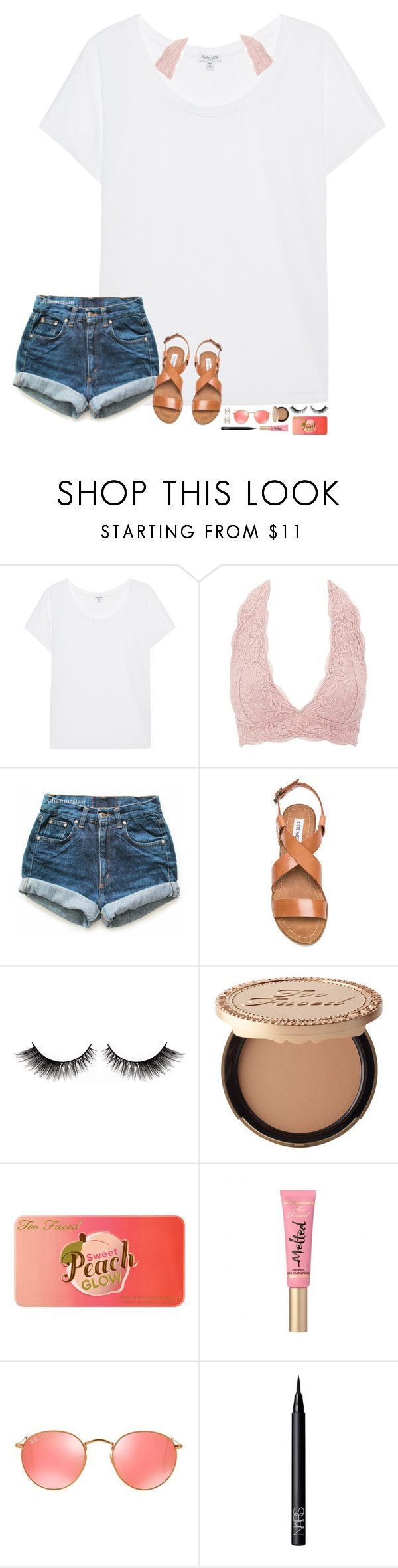 """""""d e n i m"""" by hopemarlee ❤ liked on Polyvore featuring Splendid, Charlotte Russe, Levi's, Steve Madden, Too Faced Cosmetics, Ray-Ban, NARS Cosmetics and hmsloves"""