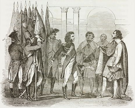 General Murat arriving in Paris with flags captured from enemy and copy of Armistice of Cherasco, 1796, Napoleon Bonapartes First Italian Campaign, Napoleonic Wars, illustration from first Italian edition of Memorial of Saint Helena, first volume, 1842