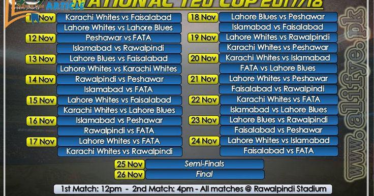 Alifye Presents the Sports News about National T20 Cup. Pakistan Sports News Updates National T20 Cup 2017 / 2018 Schedule of All Matches 2017 - 2018 1st Match: 12Pm ----- 2nd Match 4pm ----- All Matches @ Rawalpindi Stadium