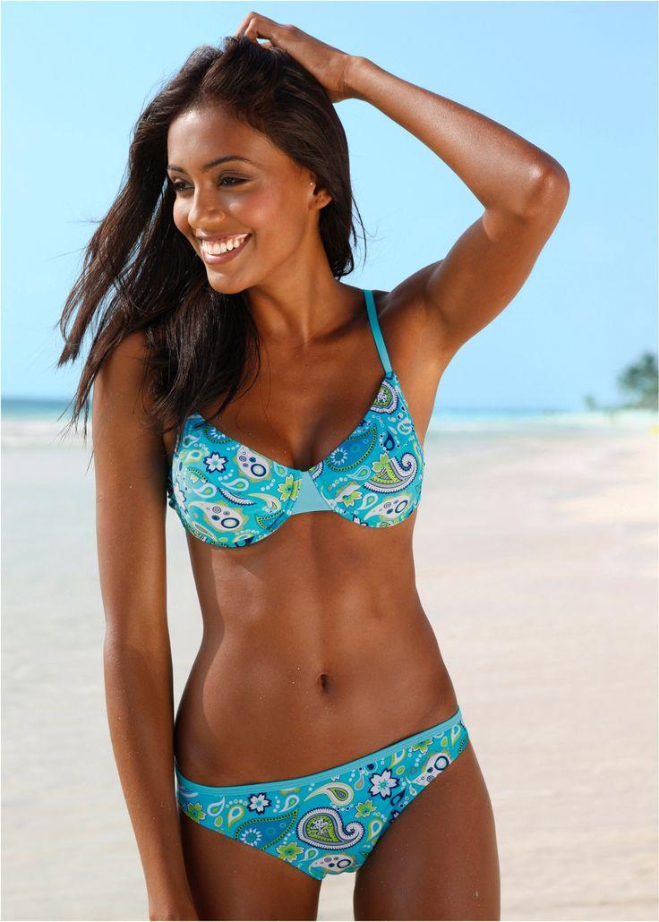 Bügel-Bikini, Cup B türkis/weiß - bpc bonprix collection jetzt im Online Shop von bonprix.de ab ? 19,99 bestellen. Mit Brustfutter. Mit Klickverschluss und ...