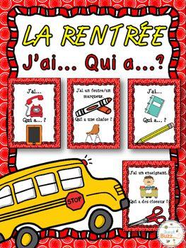 """La rentrée - Jeu """"j'ai... qui a...?"""" - French back to school"""