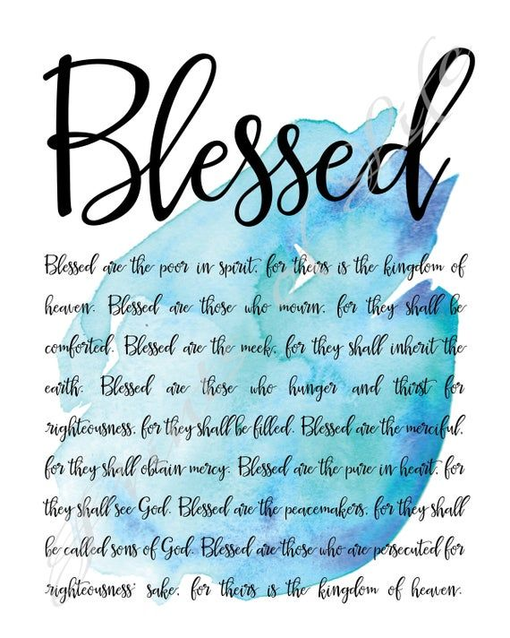 Blessed  Beatitudes  Matthew 5  Instant download printable