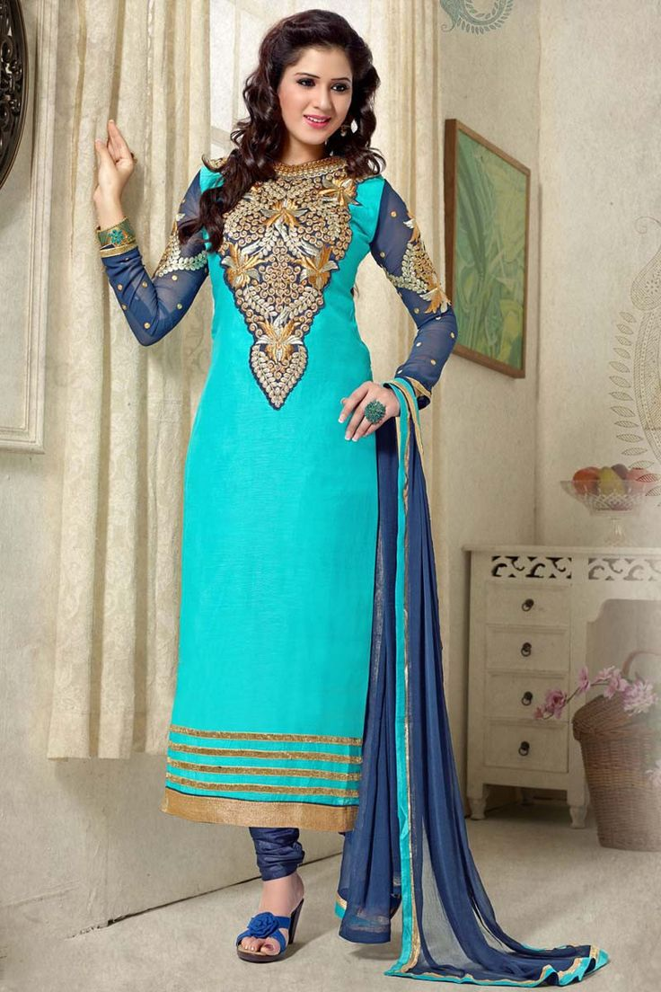 Sky Blue Chanderi Party Wear Salwar Kameez