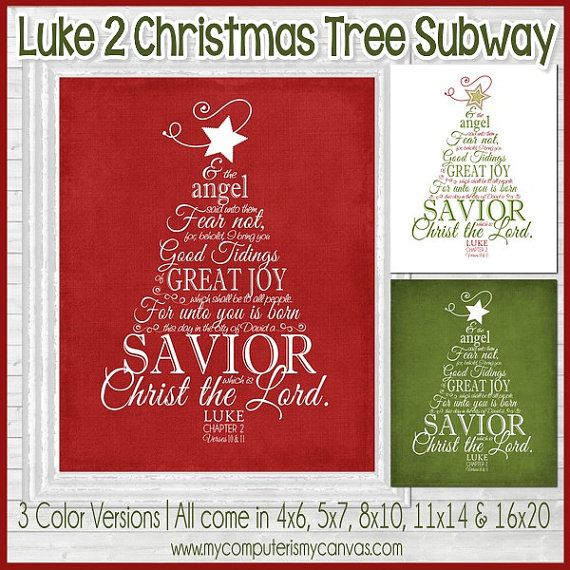 Luke 2 is a classic, traditional and beloved selection of the New Testament... more specifically, its one of my favorite passages about the Savior and Nativity. I love how this came together and hope it will bring the true spirit of Christmas into your home this holiday season!  INCLUDED IN THIS LISTING: This listing includes all three Subway Art images {shown above; red, green and white}. Youll receive all colors in 4x6, 5x7, 8x10, 11x14 & 16x20 JPEG format for photo printing + a PDF for…