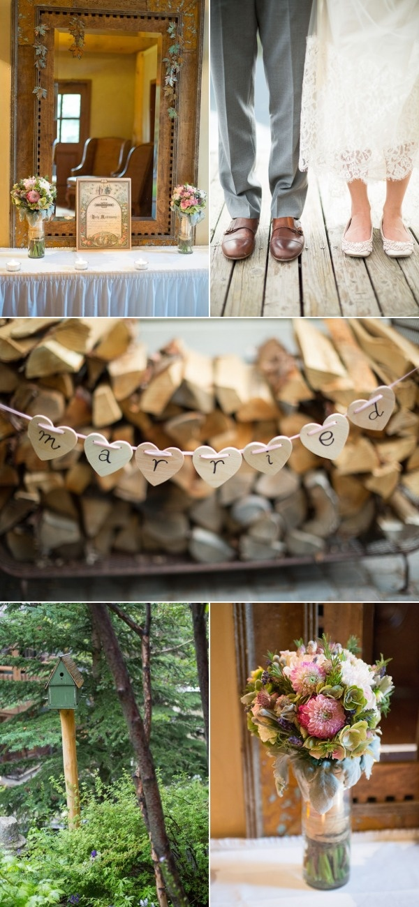 really cute garland-Banff Wedding at Buffalo Mountain Lodge from Eric Daigle Photography | Style Me Pretty