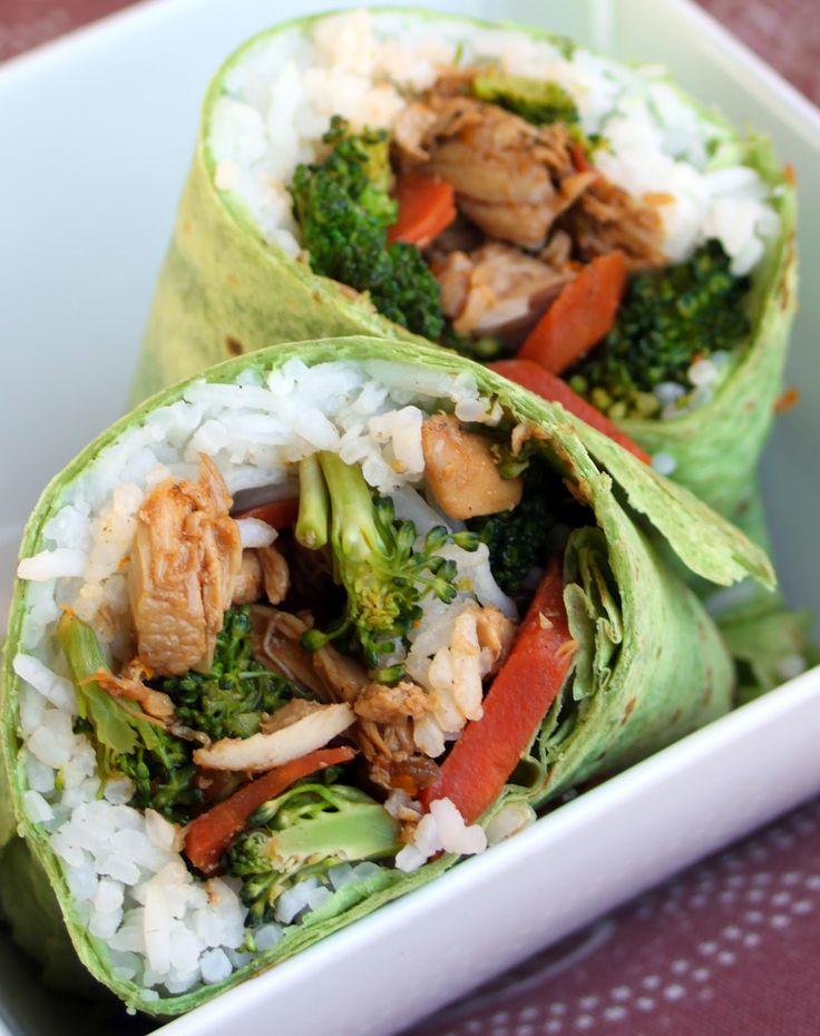 Hoopfinity's Happenings: Healthy Entrees Chicken Teriyaki Spinach wrap