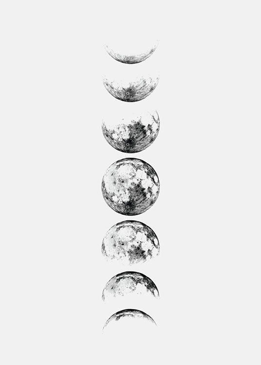 Moon Phase Grey, poster in der Gruppe Poster / Größen und Formate / 30x40cm bei Desenio AB (8371)