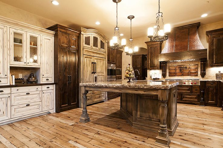 Light Hickory Floors With Dark And Cream Cabinets Love