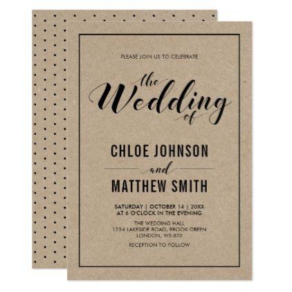 Kraft Simple Modern Typography Wedding Ceremony Invitation