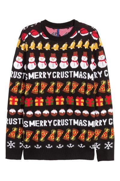クリスマスデザインセーター: ソフトなファインニットのセーター。ネックライン、袖口、裾はリブ編み。