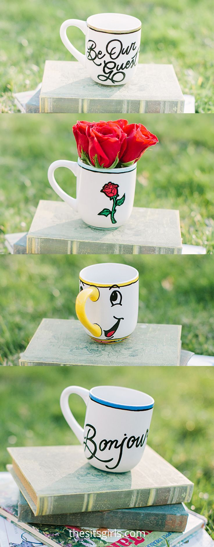 Make your own Beauty and the Beast Chip mug for a fairytale tea party! Includes step by step video tutorial to create Chip and other Belle inspired mugs.