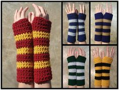 Hogwarts House Colors Influenced Armwarmers | Harry Potter crochet. i wish i had them alll! wonder if they will do a xmas swap? argness wishlist for craftster?