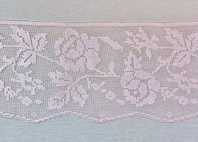 Vintage filet lace wide rose pattern ecru by mathildasattic