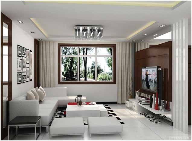 living room contemporary living room design ideas with neutral shades with white couch also cushion also white table and white pouffe also flat screen - Flat Panel Dining Room Decorating