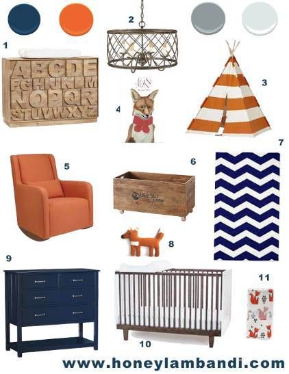 Color Palette Breakdown - navy, orange, gray and white. fox themed nursery #nurserydecor #nurseryideas