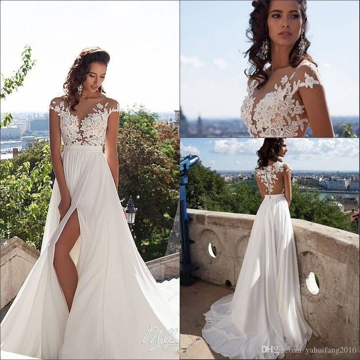 New Sexy Lace Sheer Summer Beach A Line Wedding Dresses 2017 Chiffon Illusion Long Sleeves Zip Full Length Split Thigh-High Slits A-Line Wedding Dresses Chiffon Dresses Split Beach Dress Online with $182.08/Piece on Yahuifang2016's Store | DHgate.com