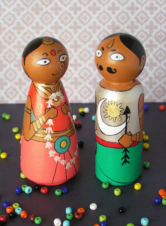 Arjuna and Draupadi - Handpainted Wooden Indian Golu Pandava Mahabharata Peg Dolls