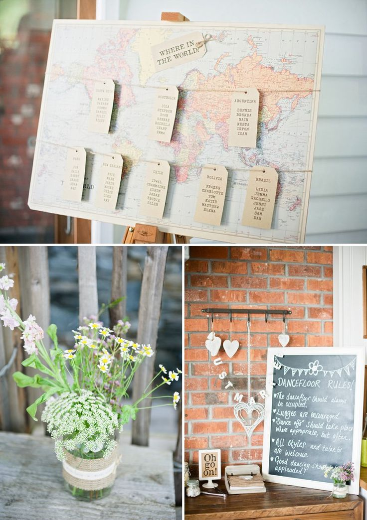 Rustic Wedding Inspiration, Map Seating Plan, Daises Centrepiece