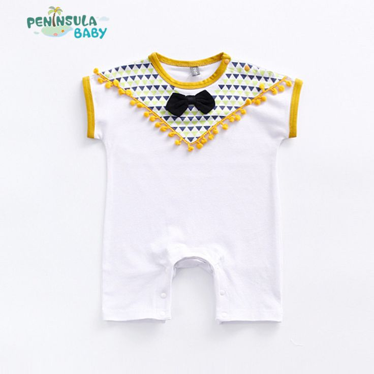 >> Click to Buy << Newborn Baby Girl Boy Clothes Summer Geometric Short Sleeve Tassel Rompers Outfit Sunsuit Princess Infant Girls Costume With Bow #Affiliate