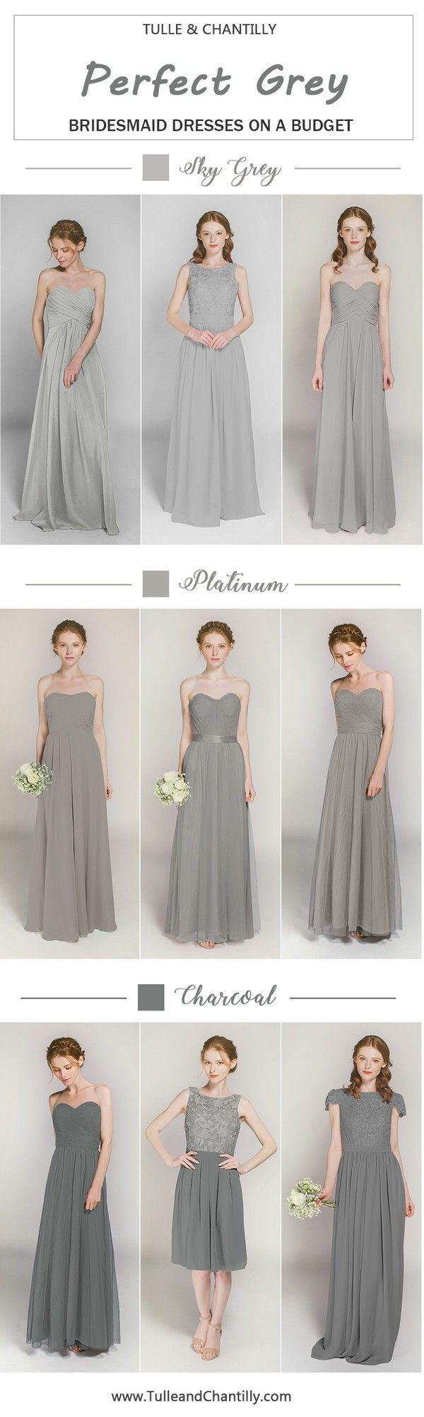 affordable sky grey bridesmaid dresses