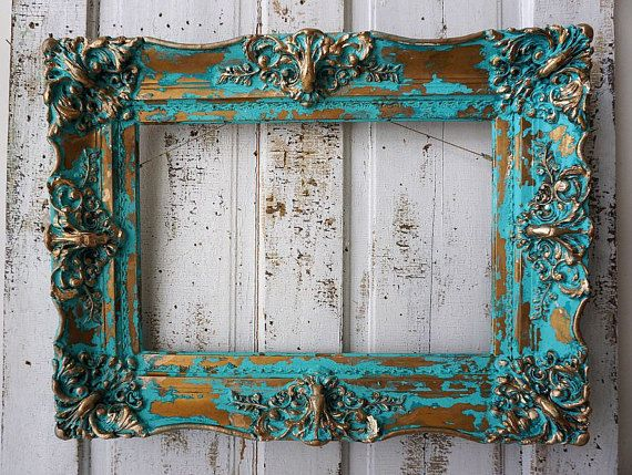 Ornate wood gesso picture frame ocean blue aqua wall hanging French antique inspired distressed shabby cottage chic decor anita spero design  I