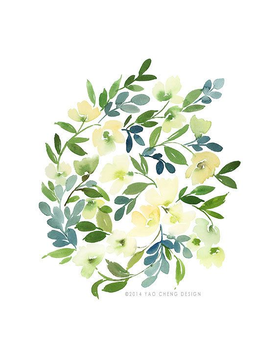 Floral Cluster in Blue Watercolor Art Print by YaoChengDesign, $25.00