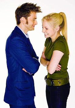 David Tennant And Georgia Moffett. Who wouldn't smile like that if they were married to David Tennent? :)