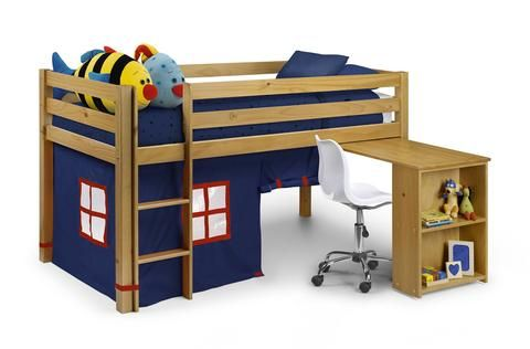 Wendy Sleeper Blue bunk bed with pull out desk, shelves and play tent.