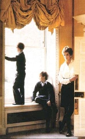Unusual shot of Diana with William & Harry