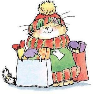 *Penny Black Rubber Stamp HOLIDAY SHOPPER Cat Shop Christmas 2220k