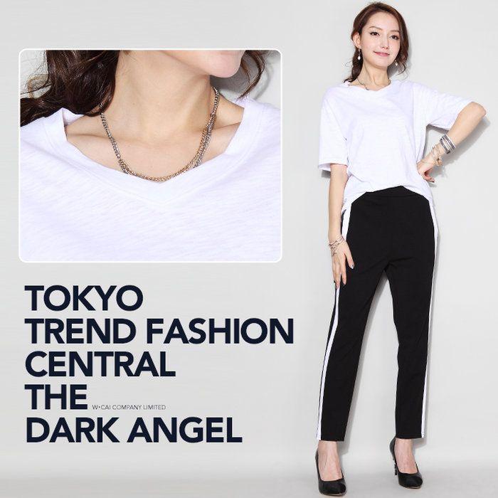 【楽天市場】Tシャツ 無地 半袖 白 ホワイト 黒 ブラック ロゴ プリント 送料無料 ラウンドネック Vネック【美ゆる!無地/ロゴスラブTシャツ】レディース【春 新作】【2017年3月新作】DarkAngel/ダークエンジェル:Dark Angel