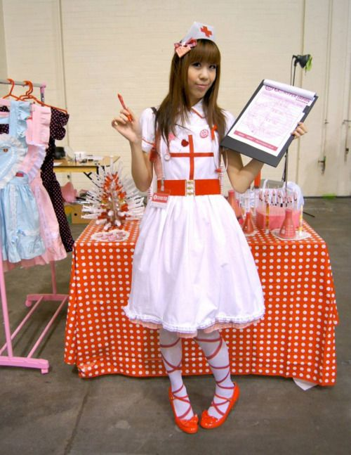 """Quote attached to this pin: """"Me as a nurse at HYPER JAPAN Spring 2012! I was assisting my friend Memz with 'Lolita Surgery', an art installation featuring medical-themed sculptures she made out of wax, gummy bears, macarons, syringes and beakers!"""""""