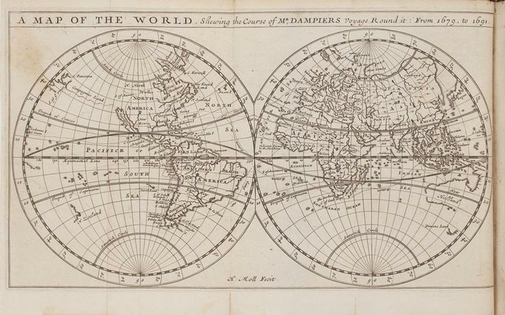 Map fro William Dampier's influential A New Voyage Round the World. Dampier (1651–1715)  His text is filled with detailed maps of his travels and lively accounts of the new lands he visited and the people and plants he encountered. A jack-of-all-trades, Dampier tried his hand at privateering, managing a plantation in Jamaica, and logging in Mexico. On one of his many voyages his ship rescued Alexander Selkirk, whose life is widely considered to be Daniel Defoes  Robinson Crusoe