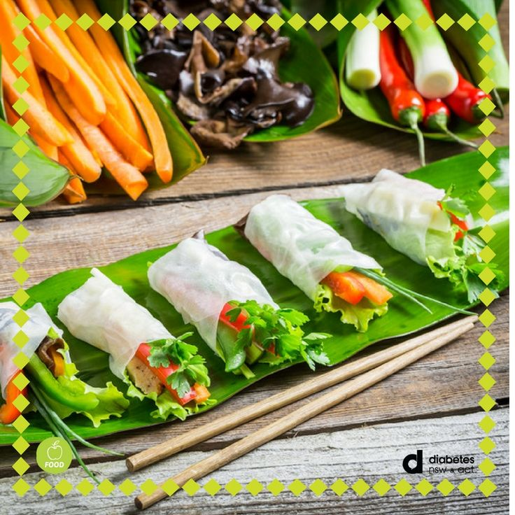 Quick tip: present these #healthy appetisers on a banana leaf for extra flair! How do you make your #food look fantastic? #FoodDiabetes  https://diabetesnsw.com.au/recipe/fresh-noodle-vegetable-rolls/