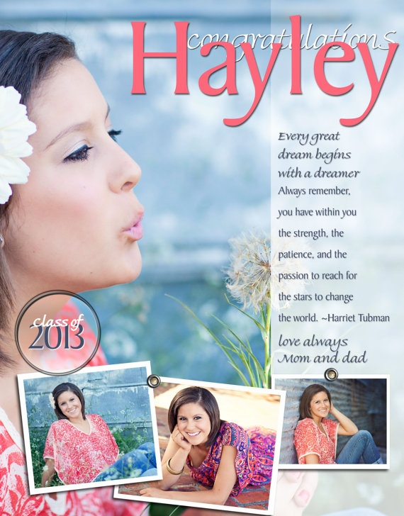 FULL PAGE Personalized Senior Yearbook Ad 9 X by PAPELCustomDESIGN, $30.00