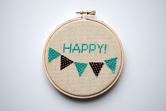 Happy Bunting Cross Stitch