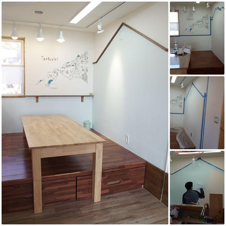 부엌 벽 페인트 리폼 -카페같은 부엌 (식탁)