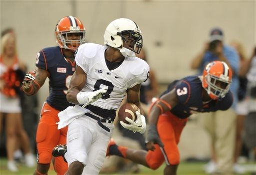 PENN STATE – FOOTBALL 2013 – Penn State's Allen Robinson runs through Syracuse defenders on his way to scoring a touchdown at the beginning of the second half of an NCAA college football game, Saturday, Aug. 31, 2013, in East Rutherford, N.J. Penn State won 23-17.