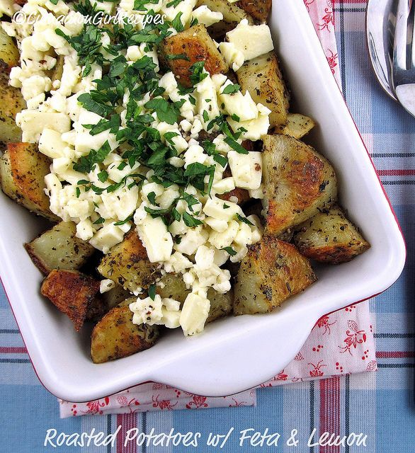 "Roasted Greek Potatoes w/ Feta and Lemon  4 cups potatoes, 3/4"" cubes  2 tablespoons extra-virgin olive oil  1 teaspoon dried thyme  1 teaspoon dried oregano  3/4 teaspoon sea salt  1/8 teaspoon fresh black pepper  1/2 cup feta cheese, chopped/crumbled  3 tablespoons fresh lemon juice  1 tablespoon fresh parsley, chopped"