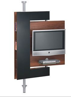 """Trying to find someone to design a """"swivel wall"""" for space between LR & Library within existing built-in bookshelves... conceptually similar to this. However, should mount TV from ceiling on panel for one side & bookshelves on backside. Would look like built-in bookshelves when not viewing TV. Need to secure items on bookshelf side to accommodate movement. Hmmm, must ponder more options."""