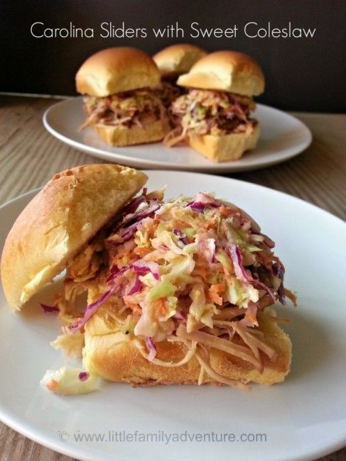 Carolina Pork Sliders with Coleslaw - This southern classic is delicious and easy to make. Cook the pork in the crock pot to save you time in the kitchen and then create these sliders any time you are ready for a tasty dinner.