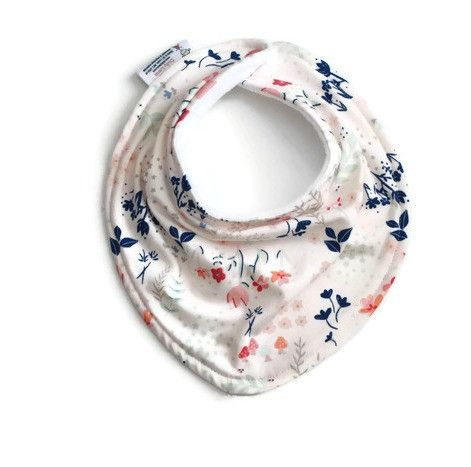 Baby bandana bib, floral baby bib This adorable and functional baby bandana bib is perfect for absorbing drool. It's stylish too! The knit fabric front is specially designed with folds and creases to