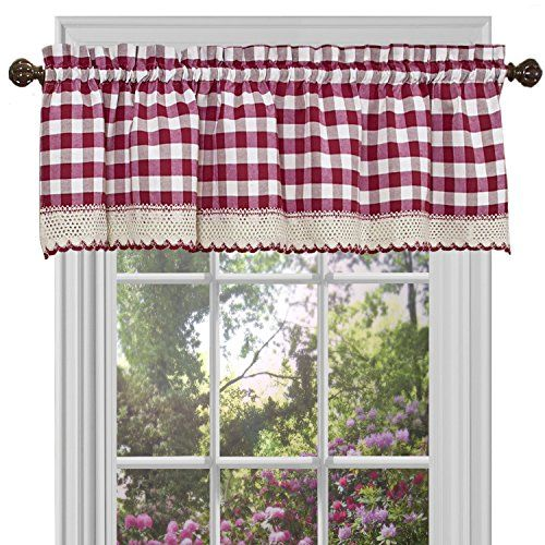 Buffalo Check Plaid Gingham Custom Fit Window Curtain Treatments By GoodGram - Assorted Colors Styles & Sizes (Single 14 in. Valance Burgundy)