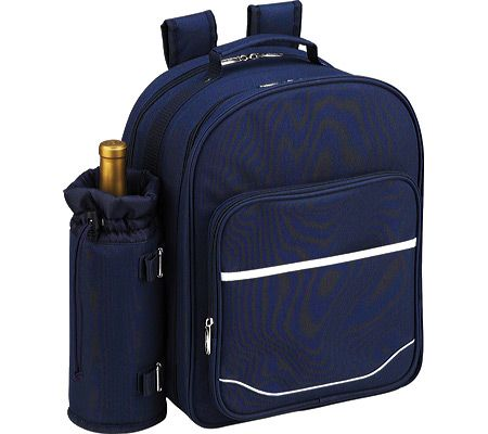 Picnic at Ascot Picnic Backpack for Four with Blanket - Navy/White with FREE Shipping & Exchanges. This is a fully equipped polycanvas picnic backpack for four people. Contents include a combination