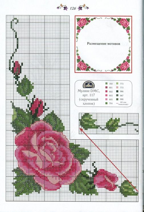 Cross stitch rose corner work