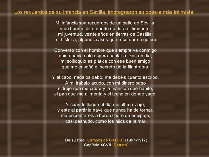 """Segunda Etapa: Poesía Historicista. Antonio Machado publica ''Retrato'' como presentación en su poemario """"Campos de Castilla"""" en 1912.  Hemos elegido este poema porque podemos encontrar en él una pequeña autobiografía, una descripción de su arte y las relaciones con su entorno.  Nos ha gustado porque habla de nuestra tierra y de sus inicios en ella."""