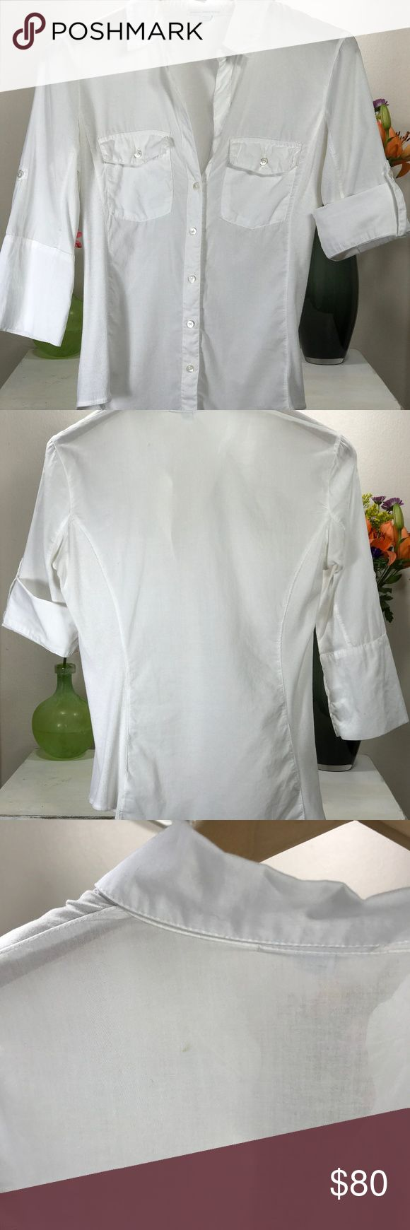 James Perse White Sheer Slub Side Panel Shirt Sz 1 Barely Worn.  Button down with side and sleeve ribbed panels. Folded sleeve cuffs with button closures. Two front flap pockets with button closures. Slightly curved bottom hem.   Still available new at James Perse Here - $155 : http://www.jamesperse.com/womens-sheer-slub-side-panel-shirt-wua3042 James Perse Tops Button Down Shirts