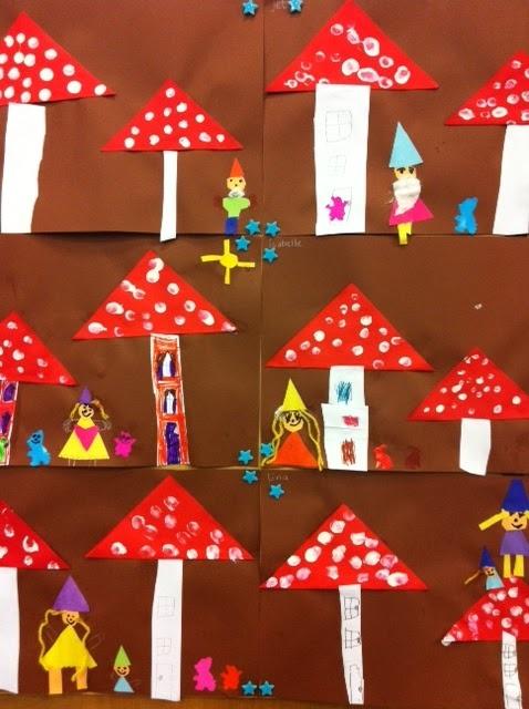 gnomes in mushrooms. Mushrooms folding oblique fold. dots of finger paint.