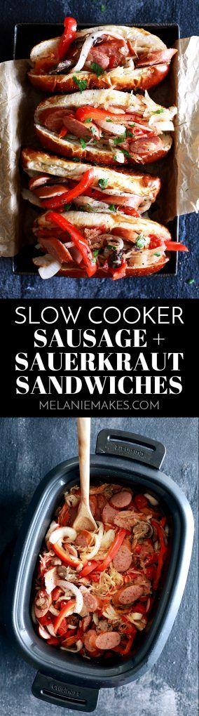 These eight ingredient Slow Cooker Sausage and Sauerkraut Sandwiches are the most hands off game day recipe ever.  Smoked sausage, sauerkraut, onion, red bell pepper and mushrooms are stirred together with brown sugar, pepper and garlic and slow cooked to perfection before being stuffed into a sandwich roll.