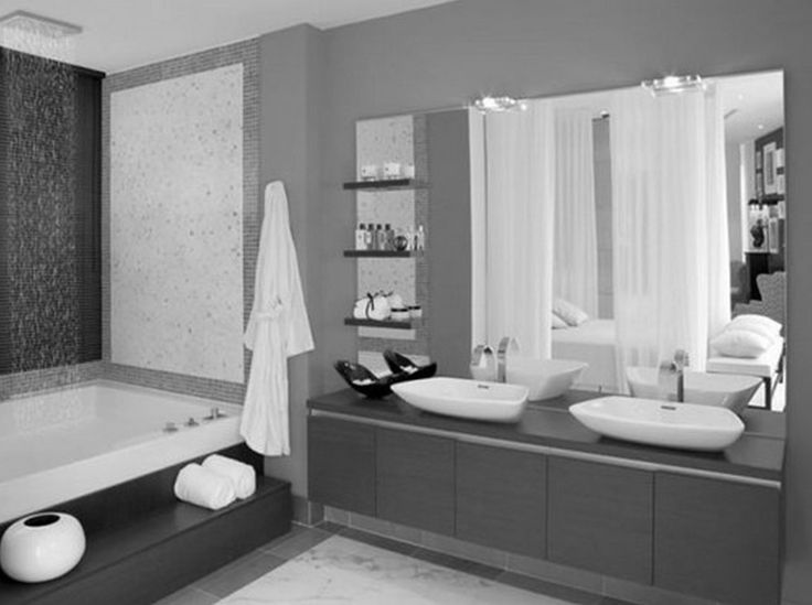 Excellent Modern Small Grey Bathrooms Decors With Double Sink Floating Vanities Added Wall Mount Mirror Lights Also Rectangle Tubs As Well As Wall Mount Shelves Bathrooms Designs